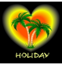 two palm trees against a bright background vector image vector image