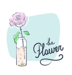 wedding celebration attribute rose in a bottle vector image