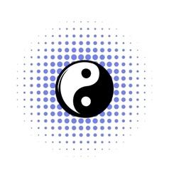 Yin yang comics icon vector