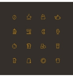 Coffee and tea line icon set vector image