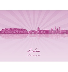 Lisbon V2 skyline in purple radiant orchid vector image