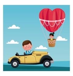 Boy driver classic car girl flying heart vector