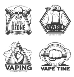 Monochrome smoke labels vector