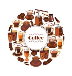 Coffee poster of espresso latte hot drinks vector