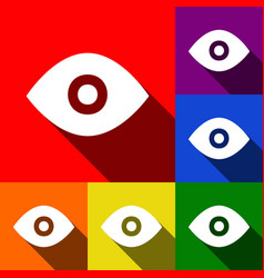 Eye sign   set of icons with vector