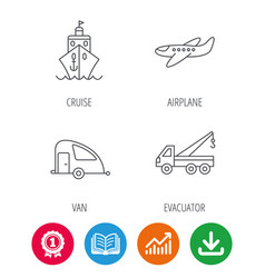 Transportation icons cruise airplane signs vector