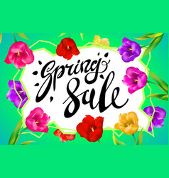 Spring sale banner colotful tulips flowers green vector