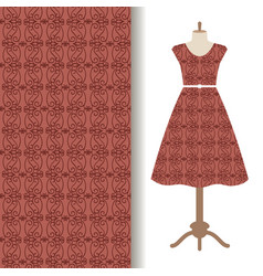 women dress fabric with brown pattern vector image