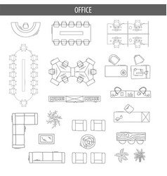 Set of linear icons for interior top view plans vector