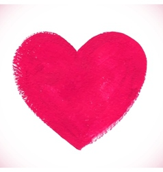 Pink acrylic color textured painted heart vector