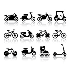 Motorcycles and bicycles set of black icons vector