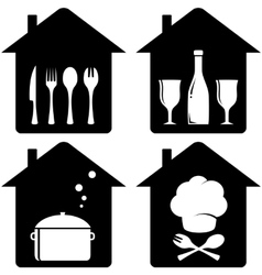 Set home icon with kithen utencil vector