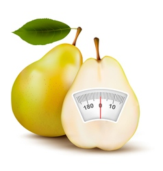 Pear with weight scale diet concept vector