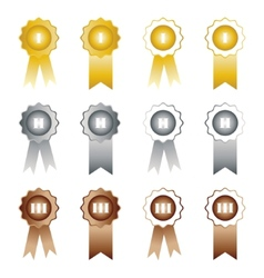 Medals with ribbons on white background first vector image