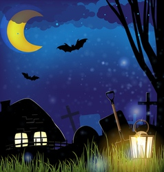 Scary night landscape vector