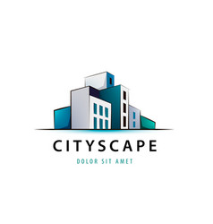 3d city scape logo architecture structure vector image
