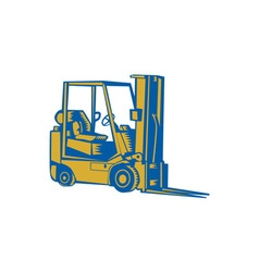 Forklift truck side woodcut vector