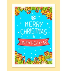 Christmas items and hand written text on vector