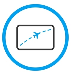 Plane route circled icon vector