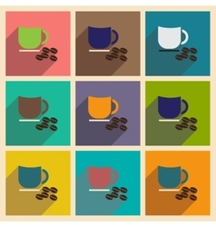 Set of flat icons with long shadow cup coffee vector