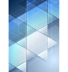 Blue abstract geometric flyer design vector