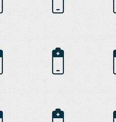 Battery icon sign seamless pattern with geometric vector