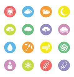 Colorful flat weather icon set vector