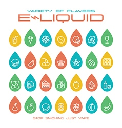 Vape shop e liquid flavors icons set vector