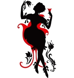Silhouette of woman with wine vector