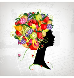 Female profile silhouette hairstyle with fruits vector image