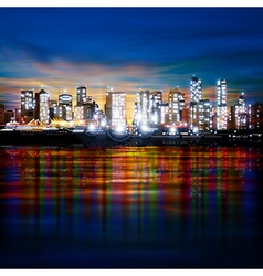 Abstract panoramic evening background with night vector