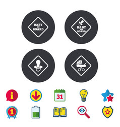 Baby on board icons infant caution signs vector