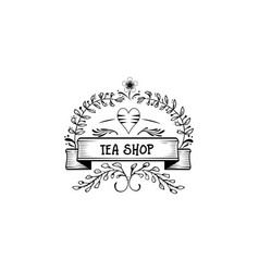 badge as part of the design - green tea sticker vector image vector image