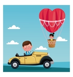 Boy driver classic car girl flying heart vector