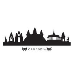 Cambodia landmarks skyline in silhouette vector