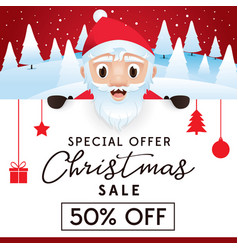 christmas sale leaflet discount up to 50 percent vector image