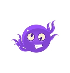 Crazy funny octopus emoji vector