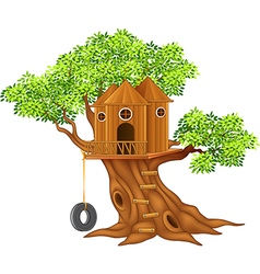 Cute small tree house vector