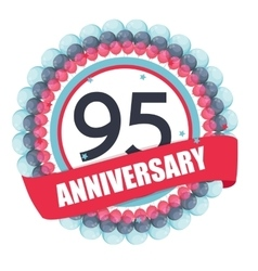 Cute template 95 years anniversary with balloons vector