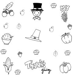 Doodle thanksgiving element vector