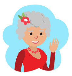 drawing of icon elderly woman in the cloud vector image vector image