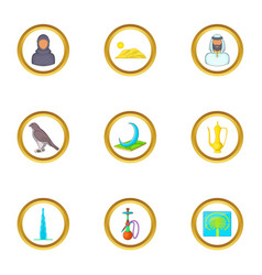 Dubai travel icons set cartoon style vector
