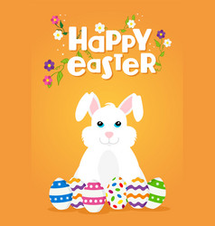 Easter greeting card of happy rabbit and eggs vector