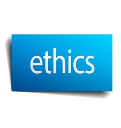 Ethics blue paper sign on white background vector
