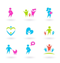 family and pregnancy icons vector image