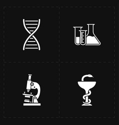 four flat medicine icons vector image