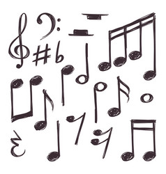 hand drawn music note musical symbols royalty free vector rh vectorstock com Music Notes SVG Music Notes SVG