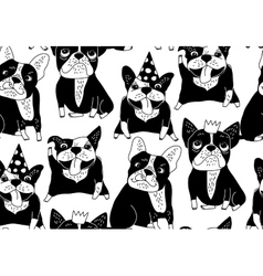 Happy dogs group French bulldog black seamless vector image