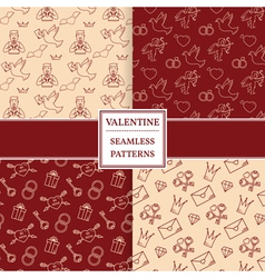 Happy valentines day pattern set valentine seamles vector