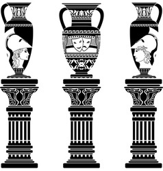 Hellenic jugs with columns second variant stencil vector